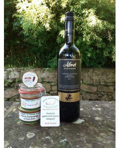 vin rouge ALBRET Estate Sélection 2015 CRIANZA accompagné d'un foie gras de canard entier 180g et d'un pâté de campagne au foie gras 125gr